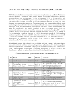 URAP TR 2014-2015 Türkiye Sıralaması Basın Bildirisi (12 KASIM