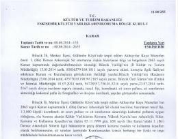 Bilecik Merkez Gülembe Köyü Akbayırlar Kaya Mezarları 1. Derece