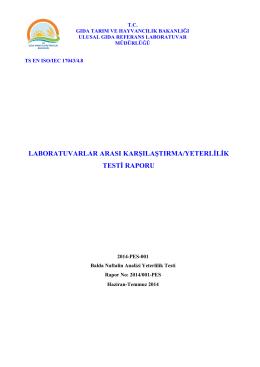 TS EN ISO/IEC 17043/4 - Gıda Kontrol Laboratuvar Müdürlükleri