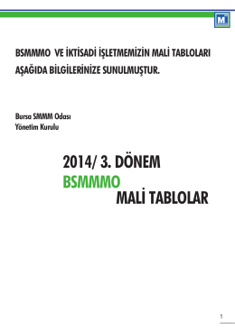 MALİ TABLOLAR 2014/ 3. DÖNEM BSMMMO