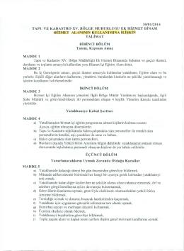 30/01/2014 TAPU VE KADASTRO XV. BÖLGE MÜDÜRLÜĞÜ EK