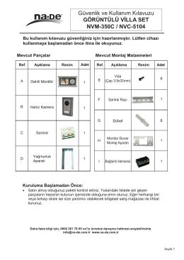 Güvenlik ve Kullanım Kılavuzu GÖRÜNTÜLÜ VİLLA SET NVM-350C