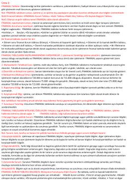 Ünite 2: FİNANSAL Tablolar: Düzenlendigi tarihte işletmelerin