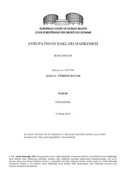 15 Nisan 2014 tarihli Asalya v. Türkiye Başvurusu