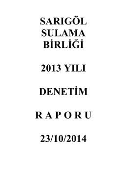 sarıgöl sulama birliği 2013 yılı denetim raporu 23/10/2014