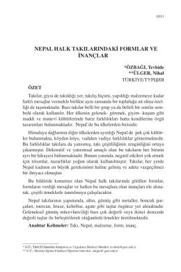 ÜLGER, Nihal-NEPAL HALK TAKILARINDAKİ FORMLAR VE