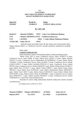 Maşuk Lojmanları Hakim ve Savcı Puan Sıralaması.