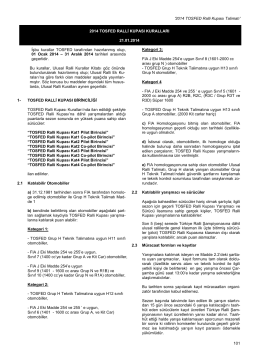 TOSFED Ralli Kupası Kuralları