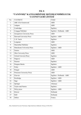 """""""tanınmış"""" kategorisinde değerlendirilecek yayınevleri listesi"""