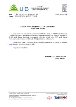 Sayı: TİM.UİB.GSK.DY.2014/1596