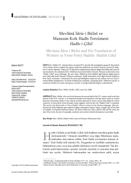 Mevlânâ İdris-i Bitlisî ve Manzum Kırk Hadîs Tercümesi: Hadîs