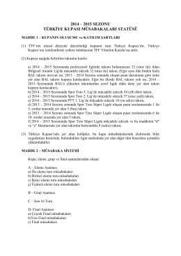 Türkiye Kupası Statüsü - Türkiye Futbol Federasyonu