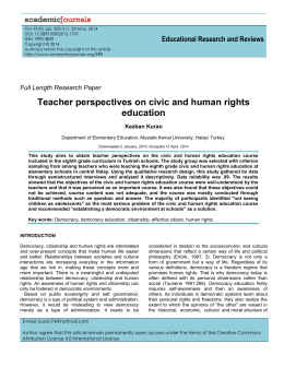 Teacher perspectives on civic and human rights education