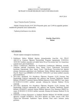 T.C DOKUZ EYLÜL ÜNİVERSİTESİ İKTİSADİ VE İDARİ BİLİMLER