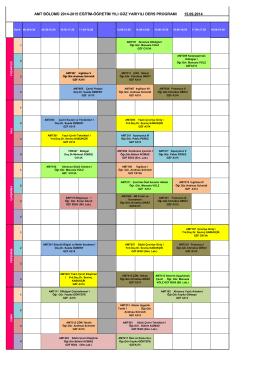 amt bölümü 2014-2015 eğitim-öğretim yılı güz yarıyılı ders programı