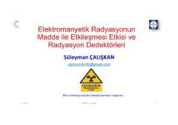 Elektromanyetik Radyasyonun Madde ile Etkileşmesi Etkisi ve
