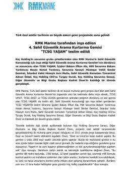 """""""TCSG YAŞAM"""" teslim edildi"""