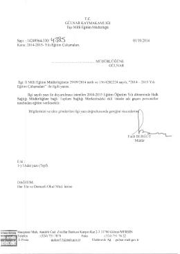 Sayı : 14249564-330/ 01/10/2014 - Gülnar İlçe Milli Eğitim Müdürlüğü