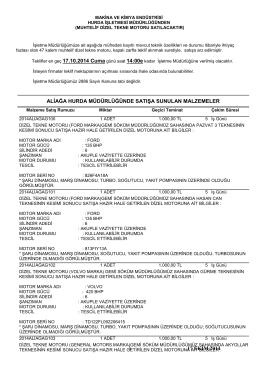 17 ekim 2014 tarihli dizel tekne motoru ihale listesi