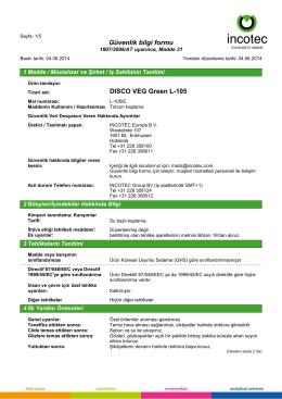 Güvenlik bilgi formu DISCO VEG Green L-105
