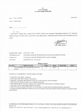 İhtiyaç Listesi - Van Halk Sağlığı Müdürlüğü