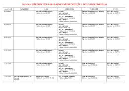 2013-2014 öğretim yılı bahar dönemi öğretmenlik 1. sınıf ders