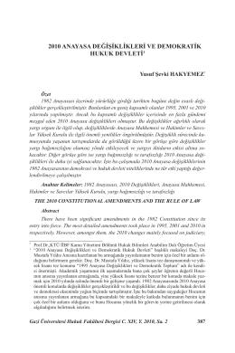 2010 anayasa değişiklikleri ve demokratik hukuk