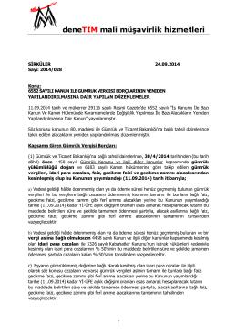 26.09.2014 2014_028 6552 Sayılı Kanun İle