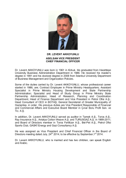 DR. LEVENT AKKOYUNLU ASELSAN VICE PRESIDENT CHIEF
