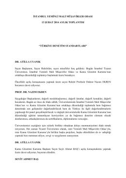 İstanbul Yeminli Mali Müşavirler Odası 13 Şubat