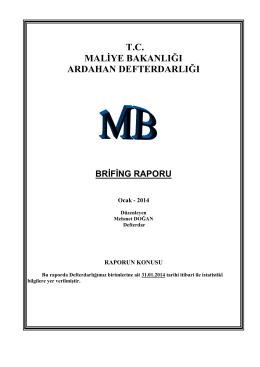 Defterdarlığımız Birimleri Ocak 2014 Brifing Raporu
