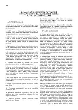 Yayın ve Yazım Kuralları - KMÜ Sosyal ve Ekonomik Araştırmalar