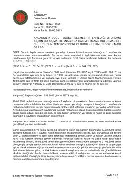 Esas No: Karar No: YARGITAY Ceza Genel Kurulu 2012/7