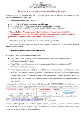 2014-2015 Güz Yarıyılı İşletme Doktora Öğrenci