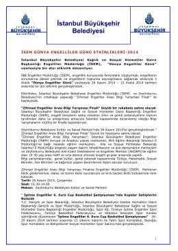İBB Engelliler Günü Etkinlikleri - İstanbul Büyükşehir Belediyesi