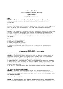 Toros Üniversitesi Yaz Dönemi Eğitim Öğretim Yönergesi