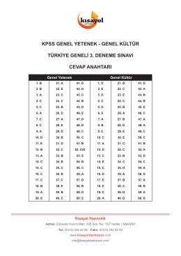 KPSS GYGK Türkiye Geneli Deneme Sınavı 3 Cevap Anahtarı