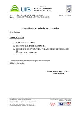 Genel Duyurular Muhtelif Konular 12.12.2014