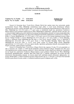 1004-Kayseri- Kocasinan- Yuvalı Köyü 134 ada 291 parselde I