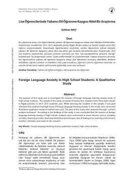 Lise Öğrencilerinde Yabancı Dil Öğrenme Kaygısı: Nitel Bir