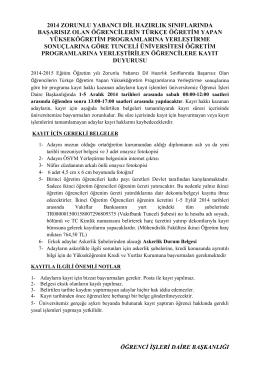 2014 ZORUNLU YABANCI DİL HAZIRLIK SINIFLARINDA