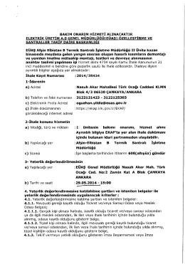 BAKIM ONARIM HİZMETİ ALINACAKTIR ELEKTRİK ÜRETİM A.S