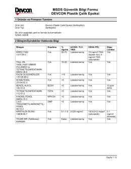 MSDS Güvenlik Bilgi Formu DEVCON Plastik Çelik Epoksi
