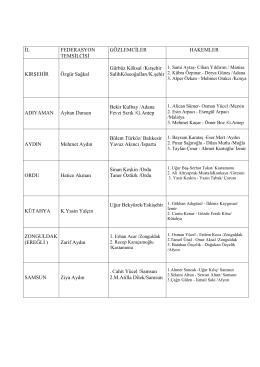 görevlendirmeler 17-20 şubat 2014 gençler grup maçları