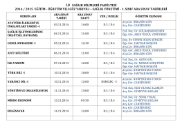 i.ü sağlık bilimleri fakültesi 2014 / 2015 eğitim