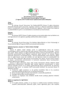 Kocaeli Üniversitesi Tıp Fakültesi DVI (İntörnlük Dönemi) Eğitimi