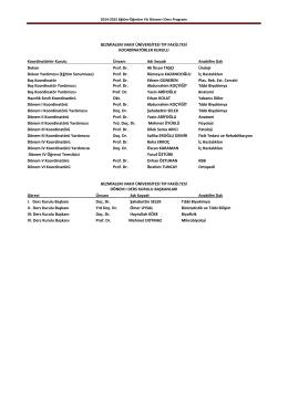 2014 - 2015 Dönem I Ders Programı