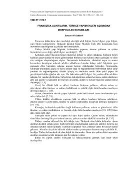 УДК 811.512.1 FRANSIZCA ALINTILARIN, TÜRKÇE YAPIM EKLERI