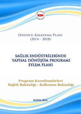 Sağlık Endüstrilerinde Yapısal Dönüşüm Programı Eylem Planı
