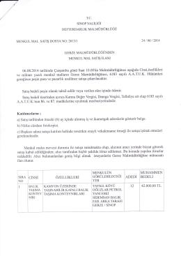 06.08.2014 tarihli ihale ilanı (Gerze Malmüdürlüğünden Menkul Mal